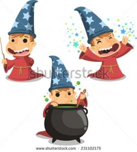 stock-vector-wizard-magician-child-vector-illustration-cartoon-231102175